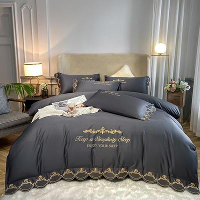 全棉星辰刺绣系列四件套 1.8m床单款四件套 星辰-高级灰