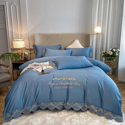 全棉星辰刺绣系列四件套 1.8m床单款四件套 星辰-皇家蓝