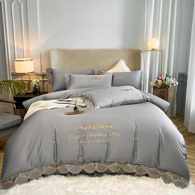 全棉星辰刺绣系列四件套 1.8m床单款四件套 星辰-银灰