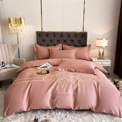 2021新款全棉刺绣系列四件套-卡琳娜 1.8m床单款四件套 卡琳娜-豆沙