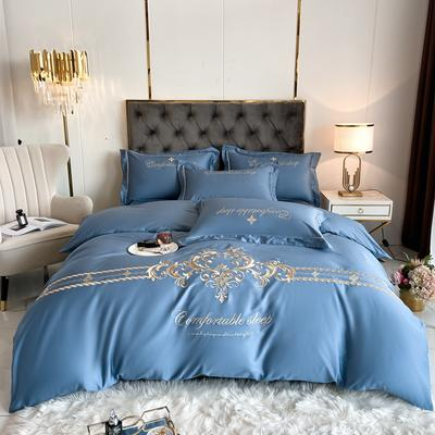 2021新款全棉刺绣系列四件套-卡琳娜 1.8m床单款四件套 卡琳娜-皇家蓝