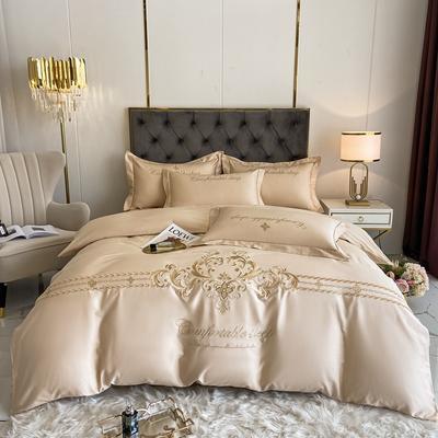 2021新款全棉刺绣系列四件套-卡琳娜 1.8m床单款四件套 卡琳娜-香槟金