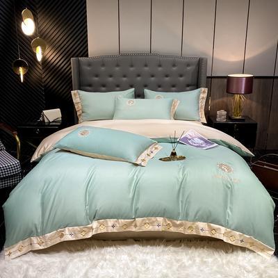 2021新款全棉刺绣系列四件套-蒙娜丽莎 1.8m床单款四件套 蒙娜丽莎-薄荷绿