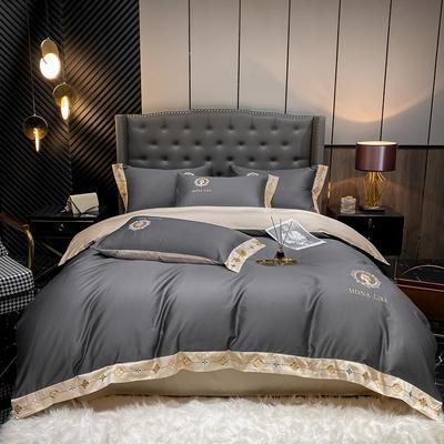 2021新款全棉刺绣系列四件套-蒙娜丽莎 1.8m床单款四件套 蒙娜丽莎-高级灰