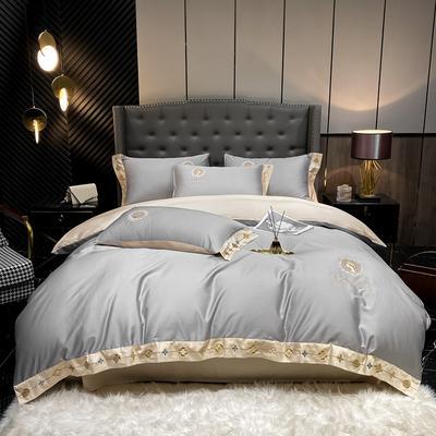 2021新款全棉刺绣系列四件套-蒙娜丽莎 1.8m床单款四件套 蒙娜丽莎-泥灰