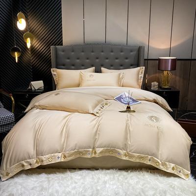 2021新款全棉刺绣系列四件套-蒙娜丽莎 1.8m床单款四件套 蒙娜丽莎-香槟金