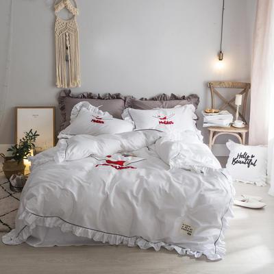 毛巾绣系列(绿水英雄款) 床笠款1.5m(5英尺)床 白