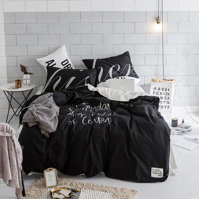 北欧极简新款套件(好运) 床笠款1.5m(5英尺)床 黑