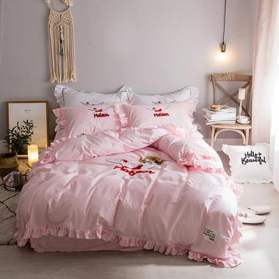 毛巾绣系列(绿水英雄款) 床笠款1.5m(5英尺)床 粉