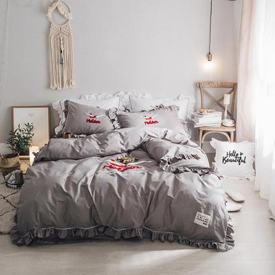 毛巾绣系列(绿水英雄款) L号改床笠2.0m(6.6英尺)床 灰