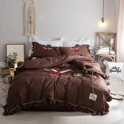 毛巾绣系列(绿水英雄款) 床笠款1.5m(5英尺)床 咖