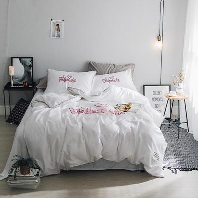 毛巾绣系列(网红款) L号改床笠2.0m(6.6英尺)床 白