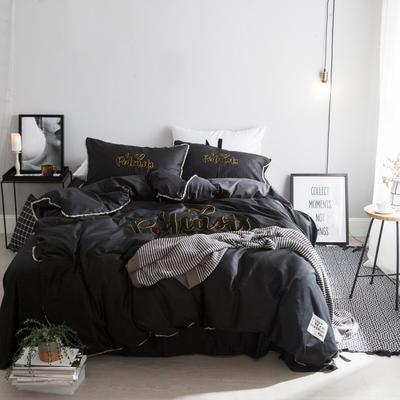 毛巾绣系列(网红款) 床笠款1.5m(5英尺)床 黑