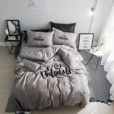 毛巾绣系列(网红款) 床笠款1.5m(5英尺)床 灰