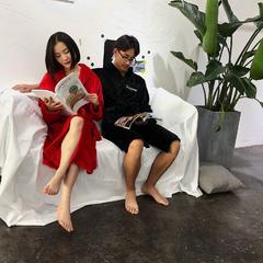 Sup绣花舒舒服服绒款睡袍 袖长60cm衣长110cm肩宽55 黑红配80斤到180斤/ 两件