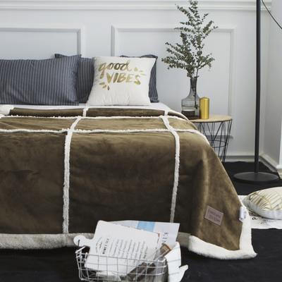 毯子 拼接鹿茸羊羔绒毯 200*230 墨玉绿
