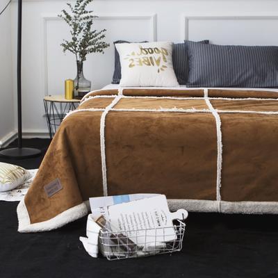 毯子 拼接鹿茸羊羔绒毯 150*200 气质棕