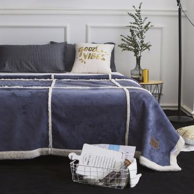毯子 拼接鹿茸羊羔绒毯 150*200 深海蓝