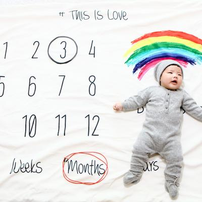 ins满月周岁彩虹记录毯 彩虹100✖140cm