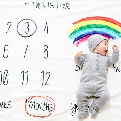 ins满月周岁彩虹记录毯 彩虹150✖200cm