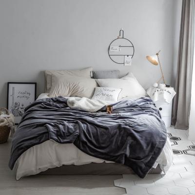 2018新款-羊羔绒纯色毯 200*230cm 灰色