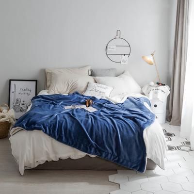 2018新款-羊羔绒纯色毯 150*200cm 深蓝