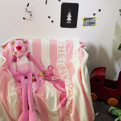 羊羔绒卡通平网毯 100×140cm 粉红豹竖条纹