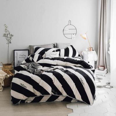 北欧chic风亲肤牛奶绒保暖四件套 1.5m(5英尺)床 i i