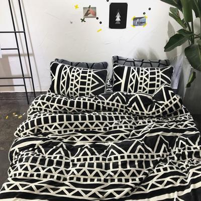 北欧chic风亲肤牛奶绒保暖四件套 1.5m(5英尺)床 MM