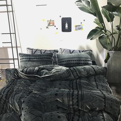 北欧chic风亲肤牛奶绒保暖四件套 床笠款1.8m(6英尺)床 V V