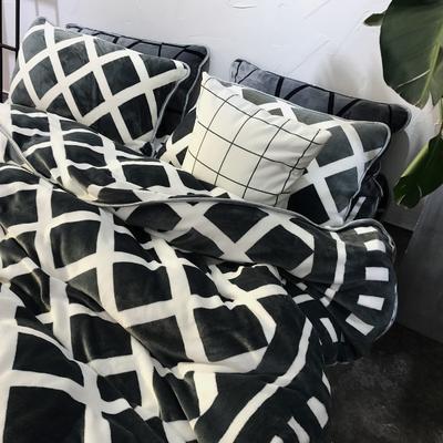 北欧chic风亲肤牛奶绒保暖四件套 床笠款1.8m(6英尺)床 XX