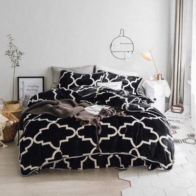 北欧chic风亲肤牛奶绒保暖四件套 床笠款1.8m(6英尺)床 简约黑