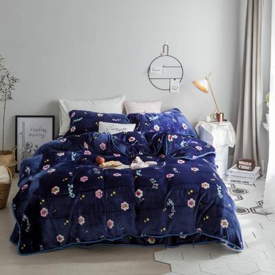 北欧chic风亲肤牛奶绒保暖四件套 床笠款1.8m(6英尺)床 萝卜小姐
