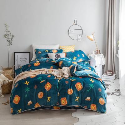 北欧chic风亲肤牛奶绒保暖四件套 床笠款1.8m(6英尺)床 狮子游乐园