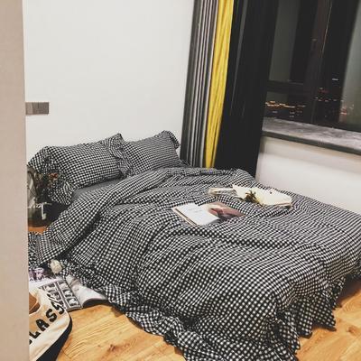 2018新款-水洗棉系列四件套-哈尼 1.5m(5英尺)床 黑格