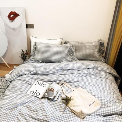 2018新款-水洗棉系列四件套-哈尼 L号改床笠2.0m(6.6英尺)床 浅蓝格