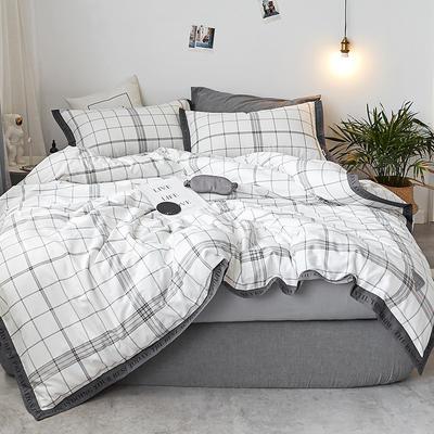 2018新款-荷尔蒙织带风四件套 L号改床笠2.0m(6.6英尺)床 白线条