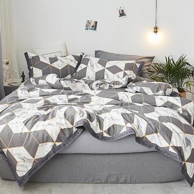 2018新款-荷尔蒙织带风四件套 L号改床笠2.0m(6.6英尺)床 金砖