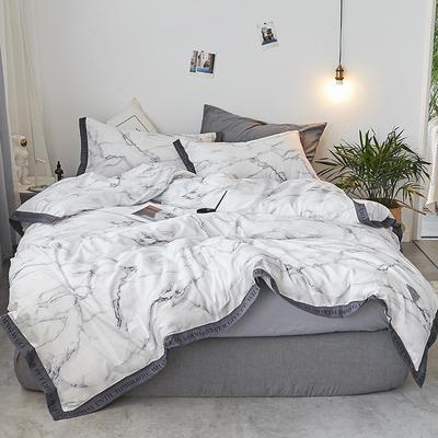 2018新款-荷尔蒙织带风四件套 L号改床笠2.0m(6.6英尺)床 墨染 白