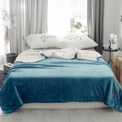 2018新款-羊羔绒纯色毯 150*200cm 蔚蓝