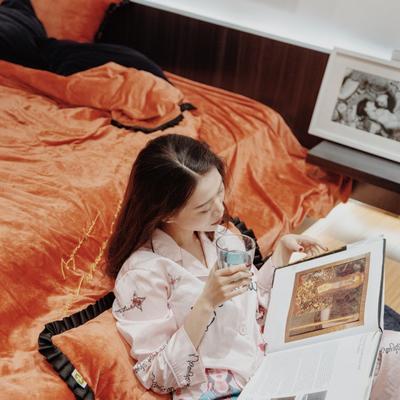 2018新款-Maggie麦琪 绒 百褶边四件套 L号改床笠2.0m(6.6英尺)床 橙黄