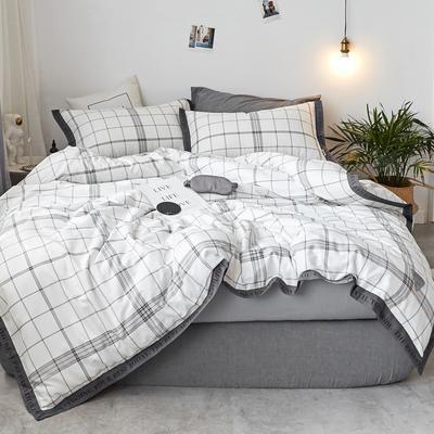 2018新款-荷尔蒙 织带风四件套 1.2m(4英尺)床 白线条