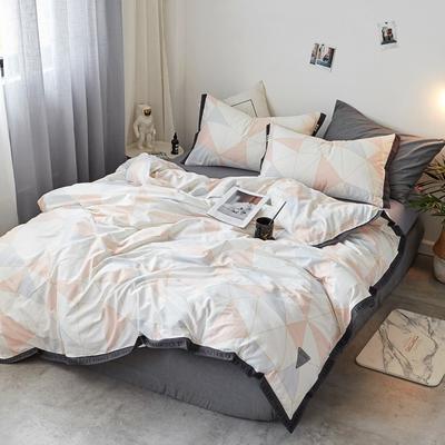 2018新款-荷尔蒙 织带风四件套 1.2m(4英尺)床 黛粉女王