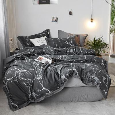 2018新款-荷尔蒙 织带风四件套 1.2m(4英尺)床 默染 黑
