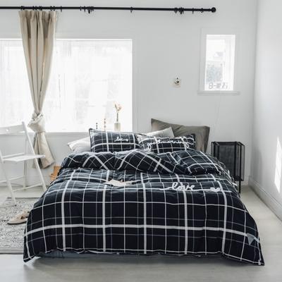 2019新款-桑托斯 肌理纹毛巾绣四件套 1.5m(5英尺)床 黑色条格