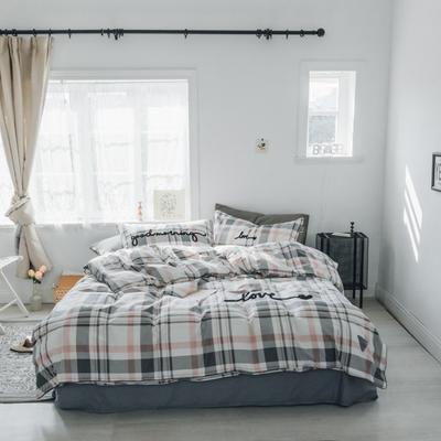 2019新款-桑托斯 肌理纹毛巾绣四件套 1.8m(6英尺)床 灰粉条格