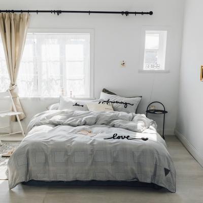 2019新款-桑托斯 肌理纹毛巾绣四件套 1.5m(5英尺)床 灰色千鸟格