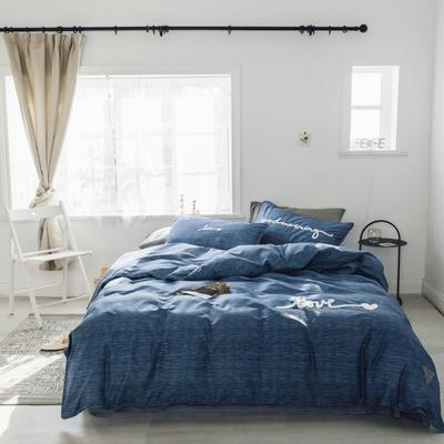 2019新款-桑托斯 肌理纹毛巾绣四件套 三件套1.2m(4英尺)床 肌理纹 蓝