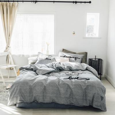 2019新款-桑托斯 肌理纹毛巾绣四件套 三件套1.2m(4英尺)床 肌理纹 浅灰