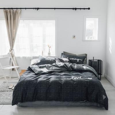 2019新款-桑托斯 肌理纹毛巾绣四件套 三件套1.2m(4英尺)床 肌理纹 深灰